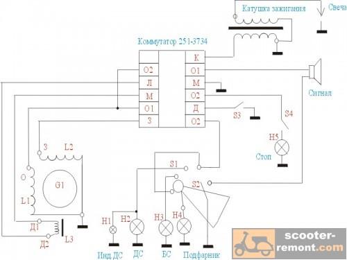 Инструкция по обслуживанию электрической части скутера Daelim History.  Электросхема скутера Peugeot Speedfight с...