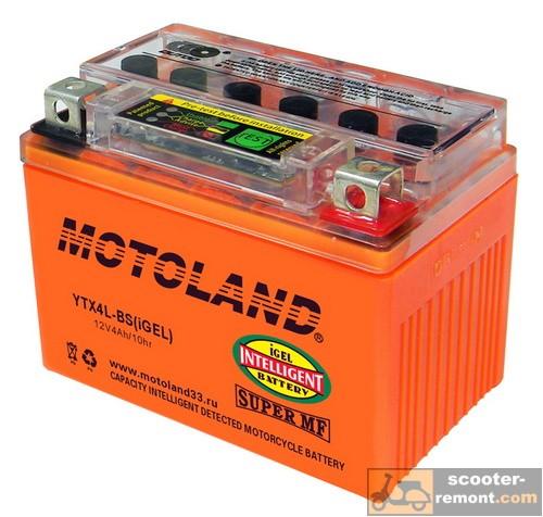 Гелевый аккумулятор Motoland CT 12V 4A