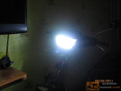 Пример работы ксеноновой лампы на скутере