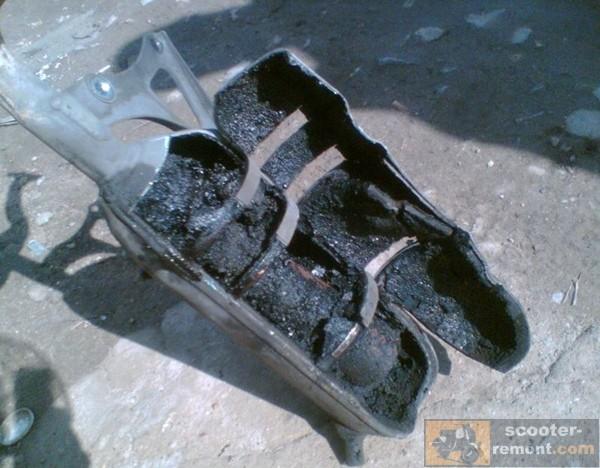 Глушитель Yamaha Jog в разрезе