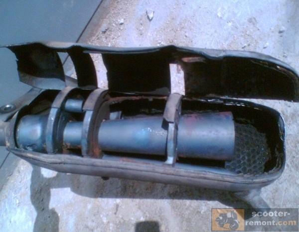 Глушитель Yamaha Jog после очистки