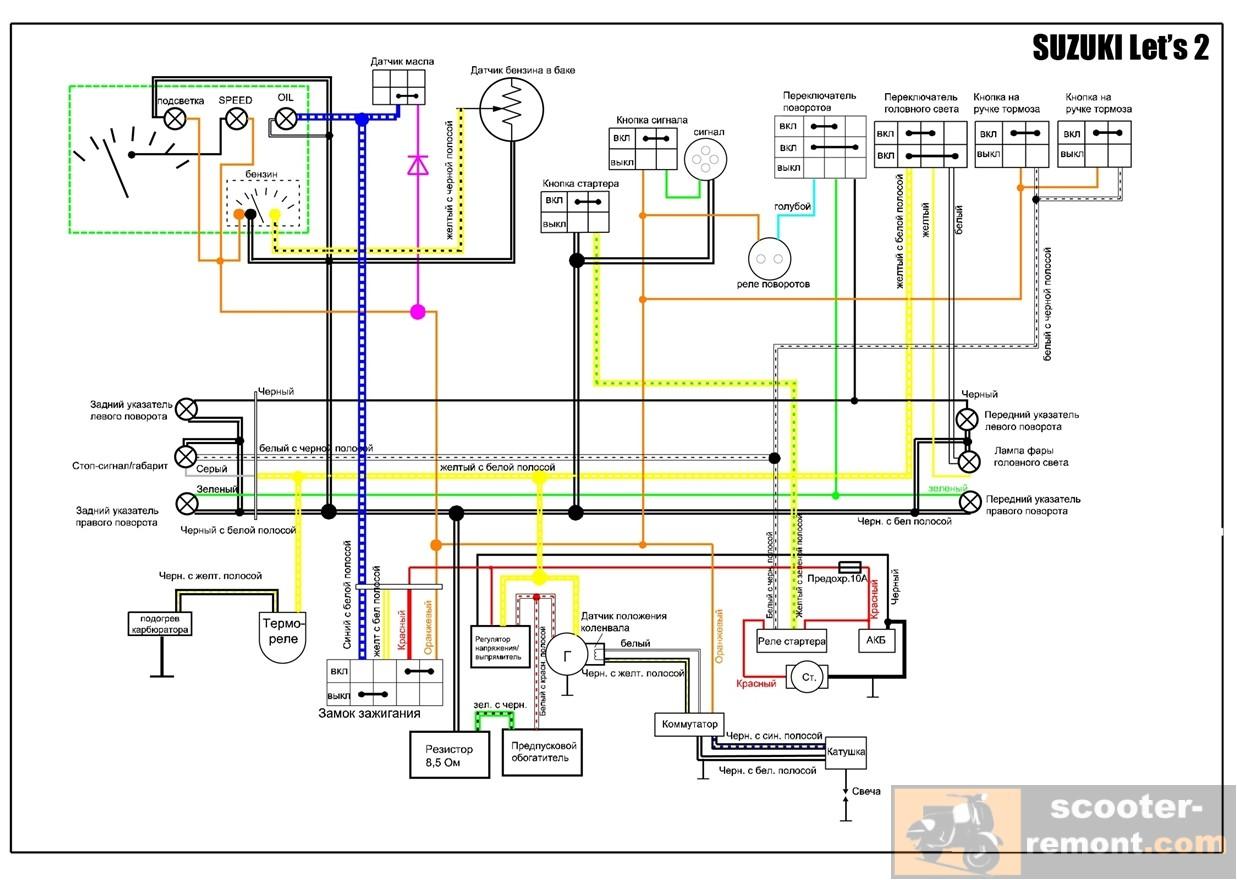 Схема простейшего цветомузыкального устройства на светодиодах.  Пусковой обогатитель карбюратора suzuki let s scooter...