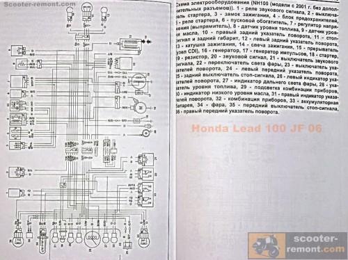 Схема электрооборудования скутера Honda-lead100-jf-06