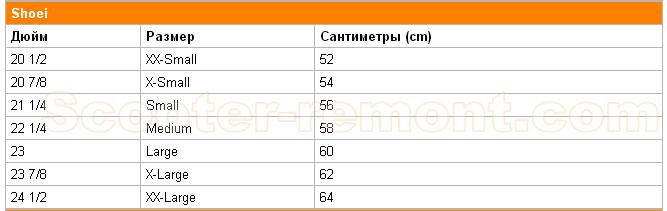 Размеры шлемов Shoei