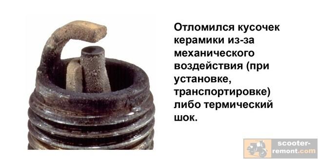 Отлом куска керамики