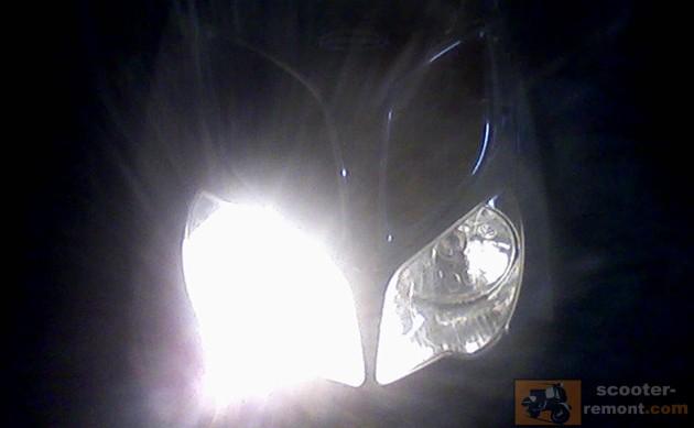 Ксенон на скутере Yamaha