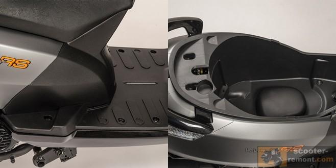 Ножки пассажира и подседельное пространство Пежо Vivacity-RS