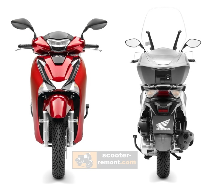 Honda SH 125 2017 вид спереди и сзади