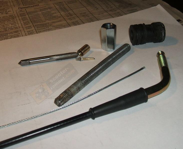 Иллюстрация подготовки тросика газа для ручного обогатителя